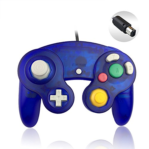 Gamecube Controller, Reiso 1 Pack Classic NGC Wired Controller for Wii Gamecube(Clear Blue)