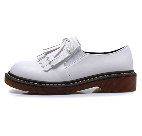 Smilun Lady¡¯s Brogues Classic Lace-up Flats Shoes for Autumn Winter Spring Slip On White Size 10 B(M) US by Smilun (Image #2)