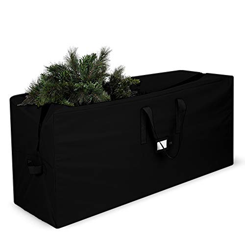 EPCOVER Christmas Tree Storage Bag-Fits Up to 7 Foot Tall Disassembled Trees,Zippered Bag with Carry Handles (Black) (Trees Christmas Box Black)