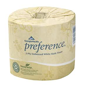 "Georgia-Pacific Preference 18280/01 Ply Embossed Bathroom Tissue, (WxL) 4.00"" x 4.05"" (Case Of 80 Rolls, 550 Sheets per Roll), White"