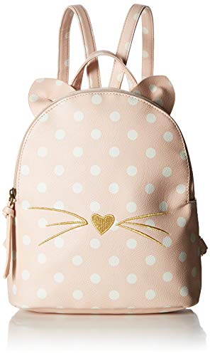 T-Shirt & Jeans Womens Polka Dot Cat Backpack with Ears, Blush,One Size