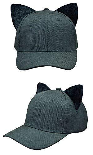 SJX Youth Kids Baby Men Women Large Big Ear Cat Character Baseball Hat Adjustment Cap Parent-Child Cap (Kids (51-54CM), Cat Ear Cap Black)]()