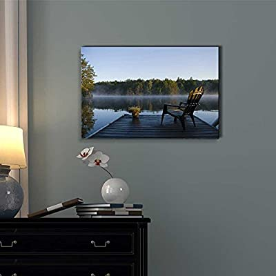 Morning View of The Bay from The Dock - Canvas Art Wall Art - 12