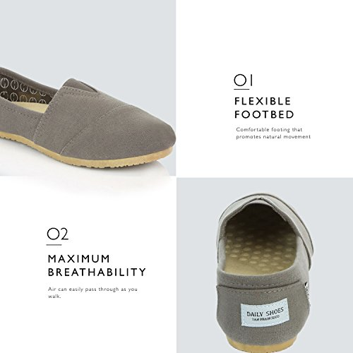 Classic Daily Cushioned Foam Sneaker Soft Linen Flats Shoes Flat Women's Memory on Casual Charcoal Slip DailyShoes fgq1An