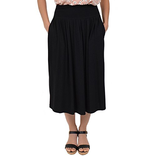 Stretch-is-Comfort-Womens-Plus-Size-Midi-Pocket-Skirt