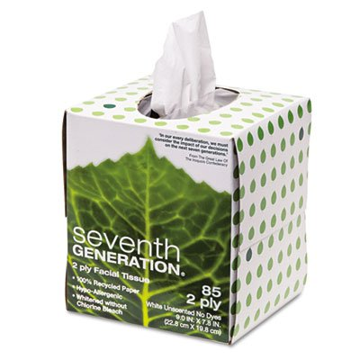 100% Recycled Facial Tissue, 2-Ply, Pop-up Cube Box, Sold as 2 Each