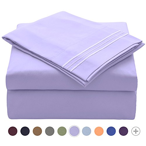 t Queen - Soft Brushed Microfiber 1800 Thread Count Sheet Pillowcase Sets - Wrinkle, Stain, Fade Resistant Hypoallergenic Queen Sheet Set, Extra Deep Pocket Bedding Sets Lavender ()