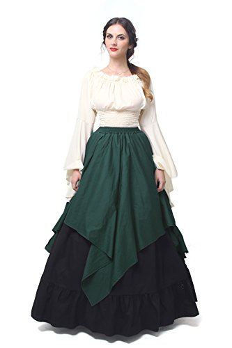 Women Medieval Dress Gothic Victorian Fancy Dresses (XX-Large, DarkGreen&Black)GC229C-XXL (Renaissance Plus Size)
