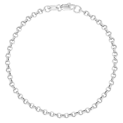 Ritastephens 10k Solid White Gold Rolo Chain Ankle Anklet 10 Inches