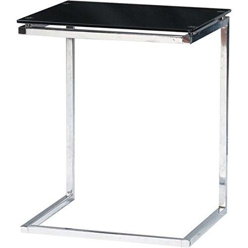 インテリア 家具 便利 おしゃれ サイドテーブル スチール/強化ガラス製(ガラス天板) PT-15BK ブラック(黒) B01HT336EW