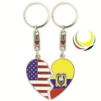 Amazon.com: Llavero USA & Corazón de Ecuador: Automotive