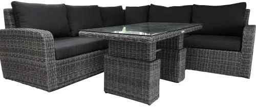 MEINGarten Lina - Conjunto de Muebles de jardín (ratán sintético, Altura Regulable), Color marrón y Pardo: Amazon.es: Jardín