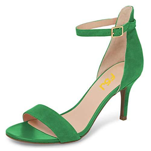 FSJ Women Comfy Open Toe Summer Sandals Ankle Strap Kitten Mid Heels Shoes Size 12 Green-Suede ()