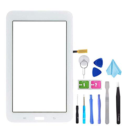 White Touch Screen Digitizer for Samsung Galaxy Tab 3 Lite 7.0 - Glass Replacement for SM-T110 T110 (Not Include LCD,WiFi Ver.No Speaker Hole) with Tools + Pre-Installed Adhesive