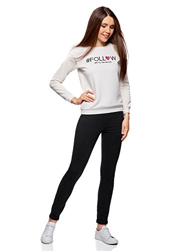 oodji Ultra Mujer Pantalones de Punto Deportivos Negro (2900N)