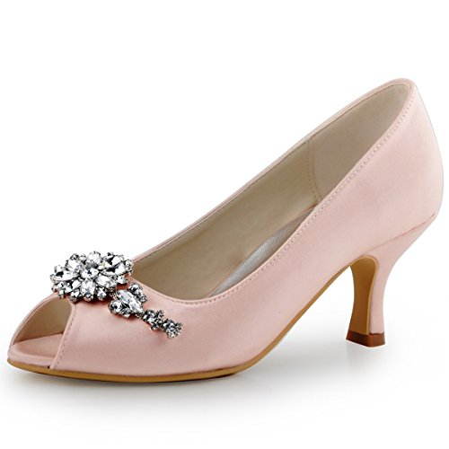 ElegantPark HP1541 Women Pumps Mid Heel Peep Toe Flower Rhinestones Satin  Evening Prom Wedding Shoes Pink US 10