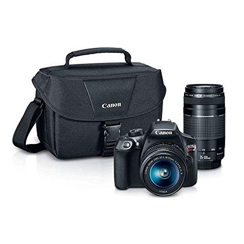 Canon Digital SLR Camera Kit [EOS Rebel T6] with EF-S 18-55mm and EF 75-300mm Zoom Lenses - Black (Camera Digital Zoom)
