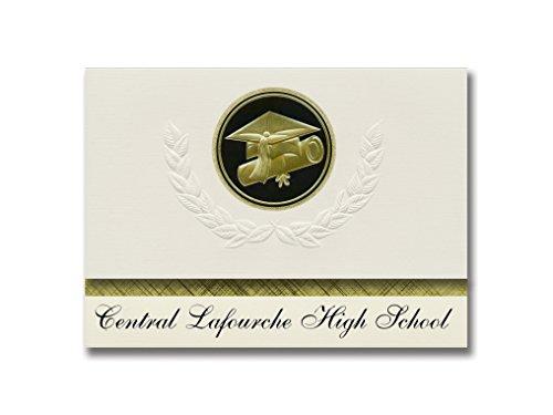 Signature Announcements Central Lafourche High School (Raceland, LA) Graduation Announcements, Presidential style, Elite package of 25 Cap & Diploma Seal. Black & Gold.