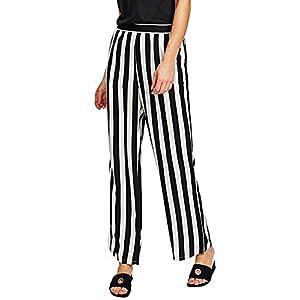 SweatyRocks Women's Striped High Waisted Lounge Wide Leg Palazzo Pants Capris (X-Large, Black_White#2)