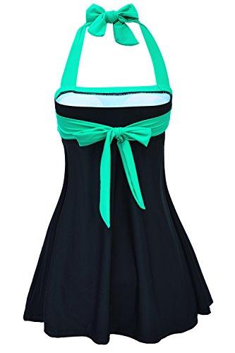 ALICECOCO Vestido de natación retro de las mujeres de y bikiní del traje de baño de las señoras de la parte inferior de Boyshort fijado con la falda Tamaño más Verde