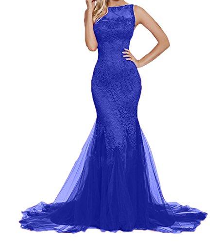 Still Damen Meerjungfrau Partykleider Abschlussballkleider Blau Royal Spitze Promkleider Abendkleider Lang Charmant 8dOqwH8