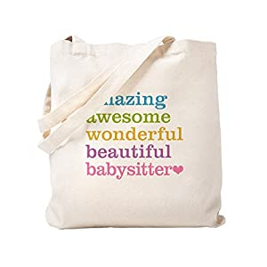 CafePress Babysitter Amazing Awesome Natural Canvas Tote Bag, Reusable Shopping Bag