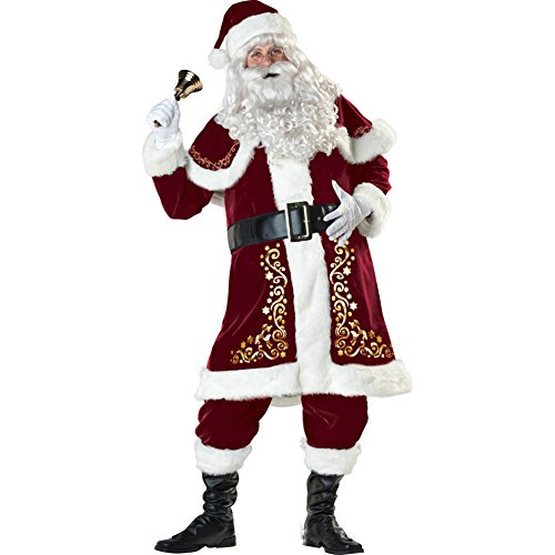ELFJOY Adult Santa Claus Christmas Suit Costume Luxury 7 Pcs Set for Party Cosplay (Large) (Regency Santa Suit)
