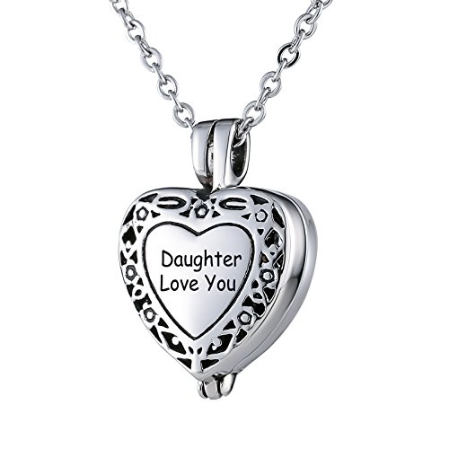 - Beydodo Cremation Necklace Ashes Daughter Love You Stainless Steel Necklace Women Filigree Heart