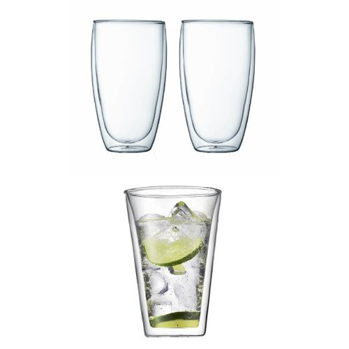 Bodum Double Wall 15 Ounce Glass and Beer Glasses, 4 Each, Bundle by Bodum