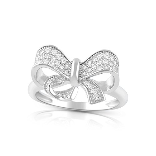 Sterling Silver Cz Bow Ring Size 4-11