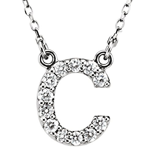 Dazzlingrock Collection 0.12 Carat (ctw) 18K Diamond Uppercase Letter C Initial Pendant (Gold Chain Included), White Gold ()