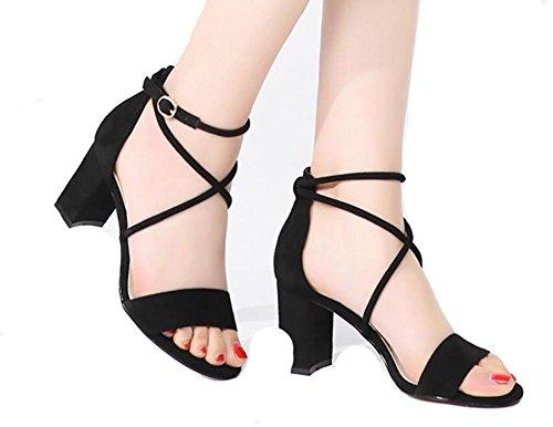 Sandalias verano femenino 2017 de los estudiantes nuevo áspero salvaje con los altos talones con la venda con los zapatos femeninos 1