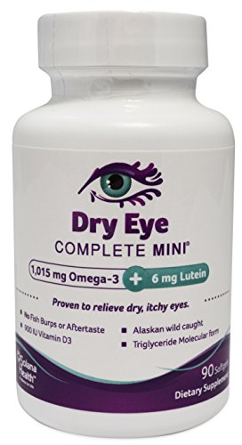 Dry Eye Complete Mini, For Dry Eyes - Smallest Softgel Available. 90 Softgels, No Fishy Burps Guaranteed. Omega-3, Omega-7, Vitamin D, B12, Lutein, Zeaxanthin
