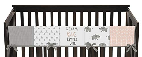 - Sweet Jojo Designs Blush Pink, Grey and White Long Front Crib Rail Guard Baby Teething Cover Protector Wrap for Watercolor Elephant Safari Collection
