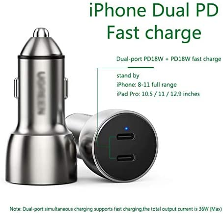 車の充電器iPhone11ProMax専用PD高速充電1つのドラッグ2つのデュアルUSBシガーライター変換プラグユニバーサルApple Huawei Xiaomi携帯電話