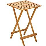 BESTChoiceForYou Bamboo Rectangular Tray Table Folding Up Wood Serving Legs Top