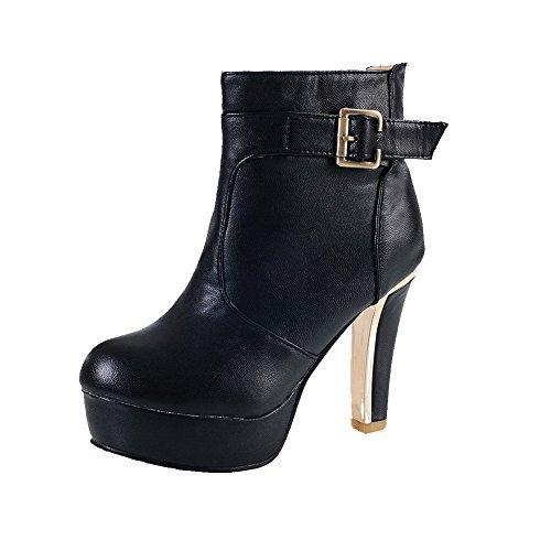 AgooLar Women's Pull-on Round Closed Toe High-Heels PU Low-top Boots Black