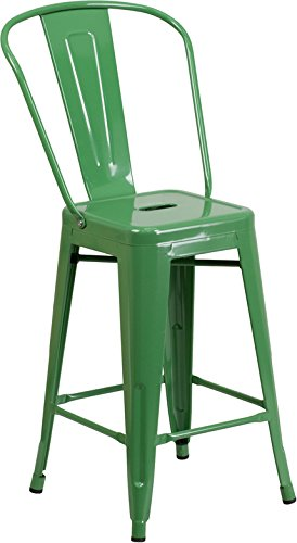 24'' High Industrial Style Green Metal Counter Height Restaurant Bar Stool with Back - Indoor & Outdoor Barstool (Bar Stools Outdoor Restaurant)