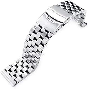 [MiLTAT] 20mm メタル時計バンド ステンレススチール スーパーエンジニア タイプ2 ブレスレット ブラッシュドシルバー ストレートエンド