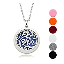 Lademayh 20mm Aromatherapy Diffuser Locket Necklace / Stainless Steel Pendant / Two Chain & 12 Pads