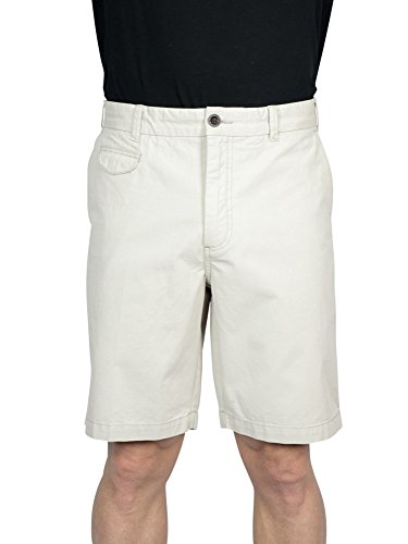 THADDEUS Wilbur Mens Twill Cotton Flat Front Walking Shorts with Side Pockets, Stone Beige, Size 33