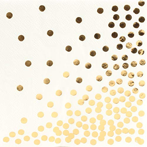 OzorStore Cocktail Napkins Gold Polka Dot Design 100 Pack, 3 Ply White Paper, Dinner Lunch Baby Shower Birthday Wedding Napkins Disposable Party Decorations White Gold Cocktail Napkins