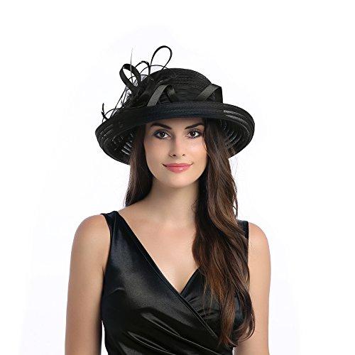 Dantiya Women's Organza Wide Brim Bowler Hat Kentucky Derby Church Dress Sun Hat (Black)