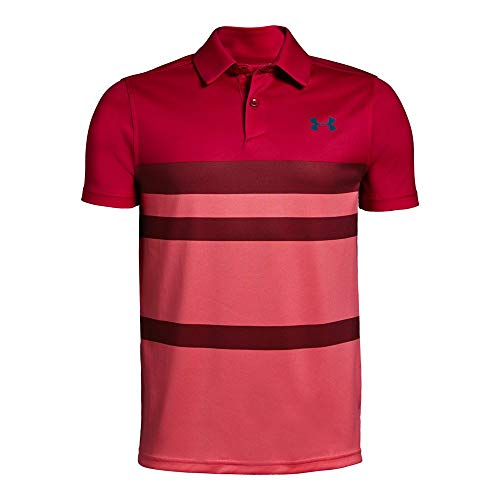 Boys Golf Shirt Top - Under Armour Tour Tips Engineered Polo, Lava//Petrol Blue, Youth X-Large
