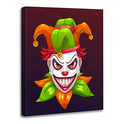 Emvency Canvas Wall Art Print Red Bad Crazy Creepy Joker Face Angry Clown Evil Artwork for Home Decor 12 x 16 -