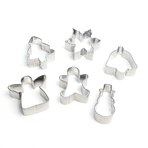 FantasyDay Christmas Cookie Cutter Set Vegetable & Fruit Stamp Set Stainless Steel Pastry Cutters for Biscuits, Dough, Fondant, Donuts, Muffins, Jelly - 5 Pcs Holiday Shapes #4