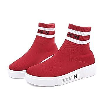Liuxc Zapatos de mujer Calcetines Zapatillas de Deporte Tramo de Malla Transpirable Casual Plana Zapatillas Altas: Amazon.es: Deportes y aire libre