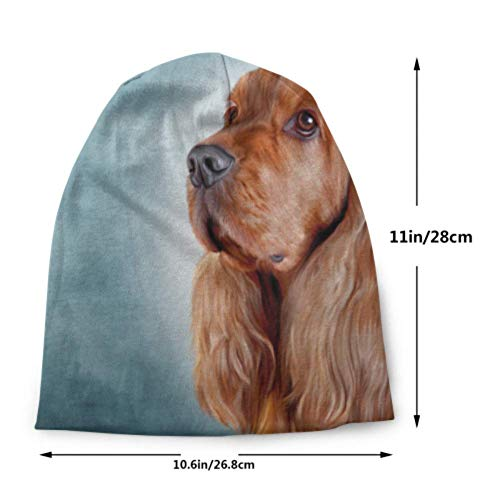 Drawing Dog English Cocker Spaniel Portrait Knit Hats for Women Knitted Beanie for Women Skull Caps Beanie Ladies Knit Cap 3D Printed Adult Comfortbale Soft 3