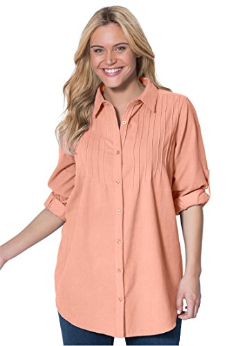 Pinwale Corduroy Shirt (Women's Plus Size Shirt In Soft Cotton Pinwale Corduroy With Pintucks,)