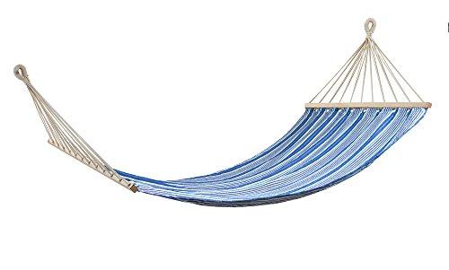 Swan Comfort 200x100 cm, 78x40 inc Extra Heavy Duty Cotton Hammock Garden Swing Set, indoor Swing Bed, Relaxing Swing Sack Solid Wood Spreader Outdoor Blue and Navy Blue